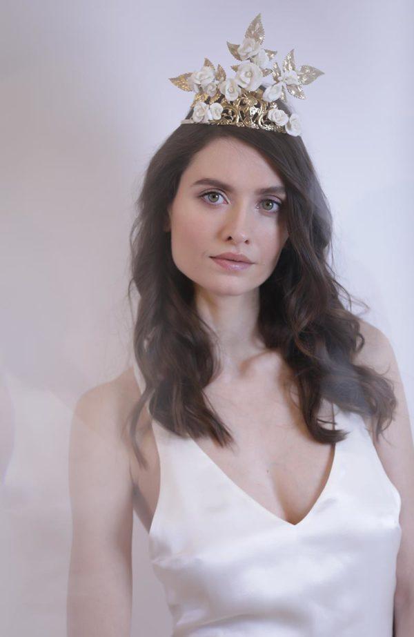 Bridal golden tiara Love is like a rose Paris