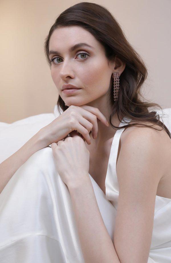 Dazzling pink bridal earrings - Love Is Like A Rose