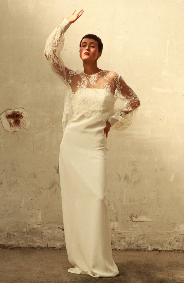 Calais lace mulet bridal top - Love Is Like A Rose Paris